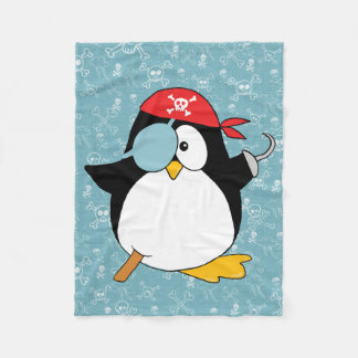 Pirate Penguin Graphic Fleece Blanket