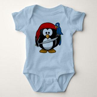 Pirate penguin parrot baby bodysuit