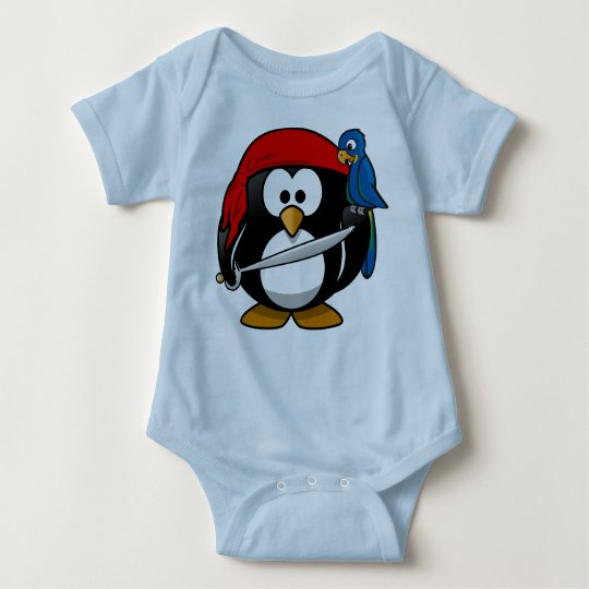 Pirate penguin parrot baby bodysuit