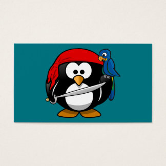 Pirate penguin parrot business card