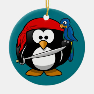 Pirate penguin parrot christmas ornament