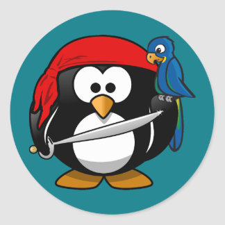 Pirate penguin parrot classic round sticker