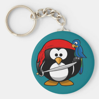 Pirate penguin parrot key ring