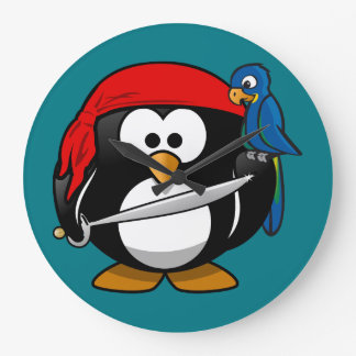 Pirate penguin parrot large clock