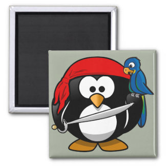 Pirate penguin parrot square magnet