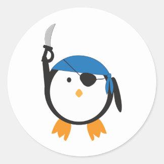 Pirate Penguin Round Sticker
