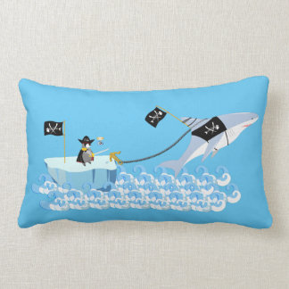 Pirate penguin with shark throw cushions