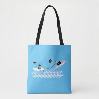 Pirate penguin with shark tote bag