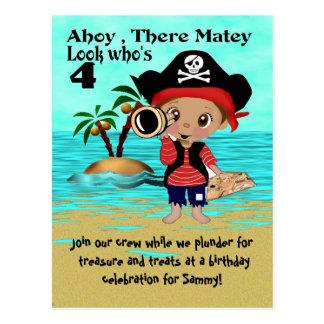 Pirate Pete Party Invitation Postcard