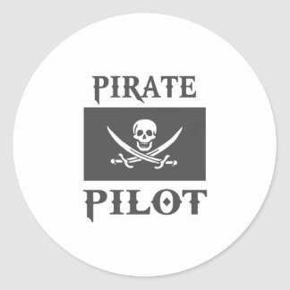 Pirate Pilot Round Sticker