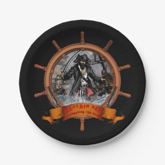 Pirate plundering the seas. 7 inch paper plate