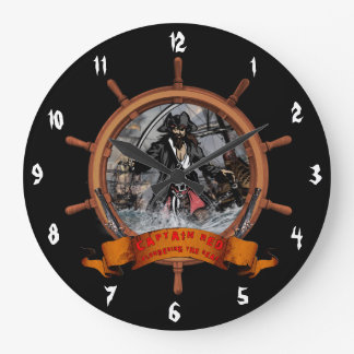 Pirate plundering the seas. large clock