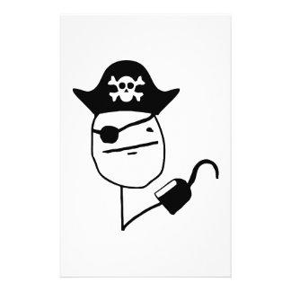 Pirate poker face - meme customized stationery