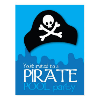 Pirate pool party invitation post card