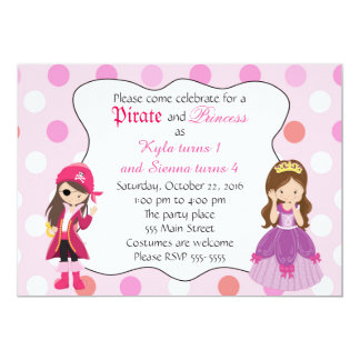 Pirate Princess Girl Birthday Party Invitation
