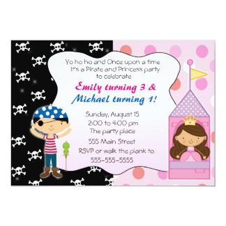 Pirate Princess Kids Birthday Party Invitations