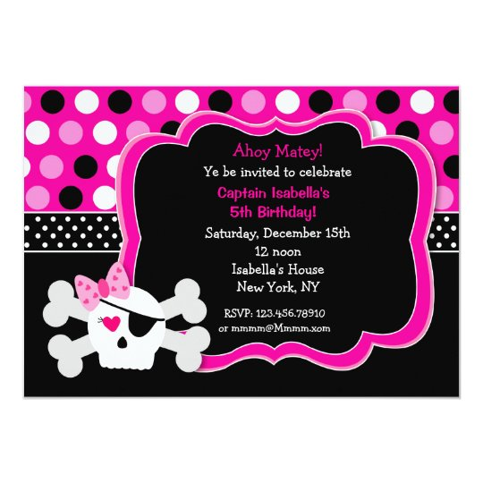 Pirate Princess Skull BIrthday Invitations