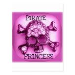 PIRATE PRINCESS SKULLY PINK PRINT POSTCARD
