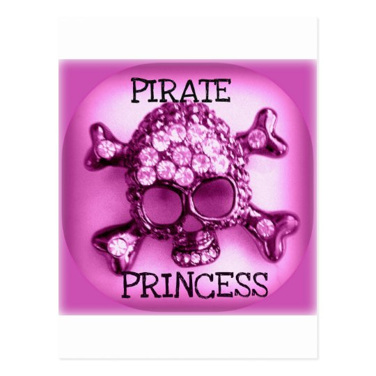 PIRATE PRINCESS SKULLY PINK PRINT POSTCARD