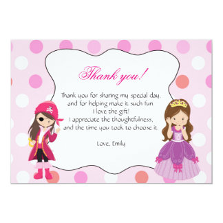 Pirate Princess Thank You Card Note 13 Cm X 18 Cm Invitation Card