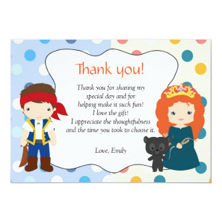 Pirate Princess Thank You Note Personalised Card 13 Cm X 18 Cm Invitation Card