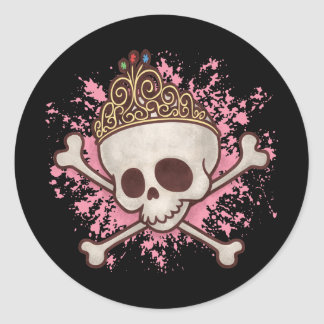 Pirate Princess -tiara Classic Round Sticker