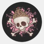 Pirate Princess -tiara Round Stickers