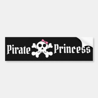 Pirate Princess with Pink Bow & Pirate Skull Bumper Sticker