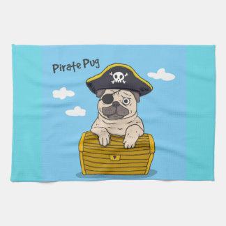 Pirate Pug Tea Towel