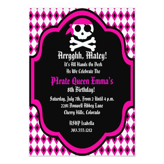 Pirate Queen Birthday Party Invitation