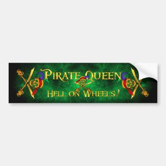 Pirate Queen Hell Bumpersticker Green Bumper Sticker