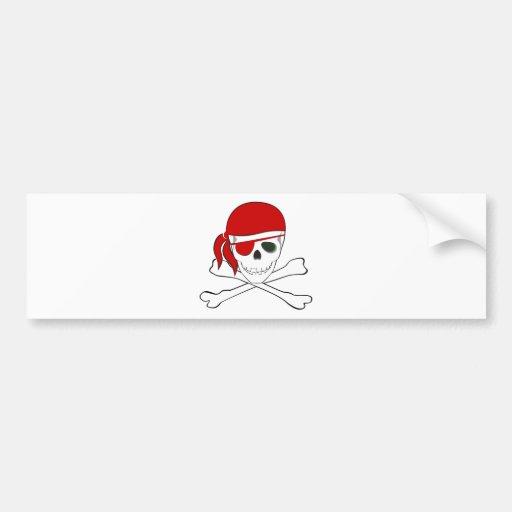 Pirate + Red Bandana Bumper Sticker