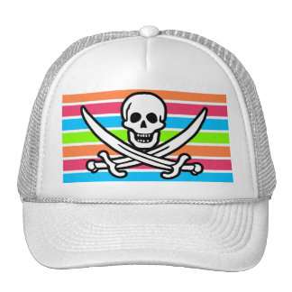Pirate; Retro Neon Rainbow Jolly Roger Trucker Hat