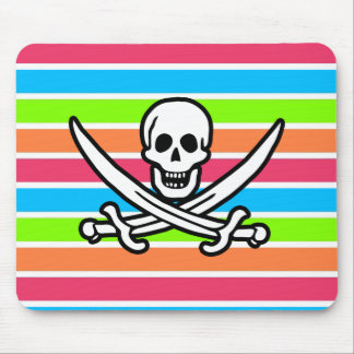 Pirate Retro Neon Rainbow Jolly Roger Mousepad