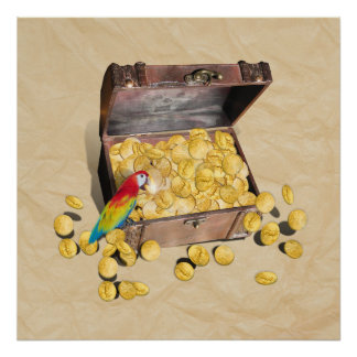 Pirate s Treasure Chest on Crinkle Paper Print
