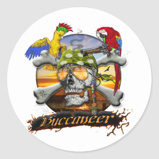 Pirate Scull and Parrots Round Sticker