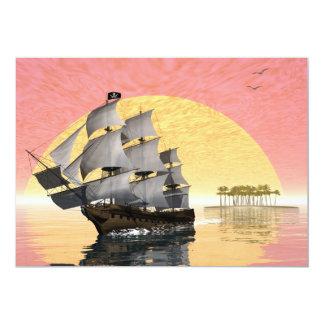 Pirate ship - 3D render 13 Cm X 18 Cm Invitation Card