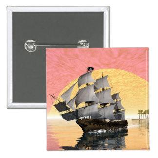Pirate ship - 3D render 15 Cm Square Badge