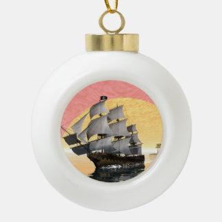 Pirate ship - 3D render Ceramic Ball Decoration