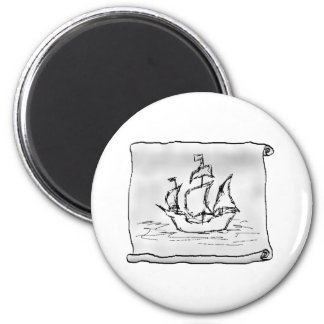 Pirate Ship. 6 Cm Round Magnet