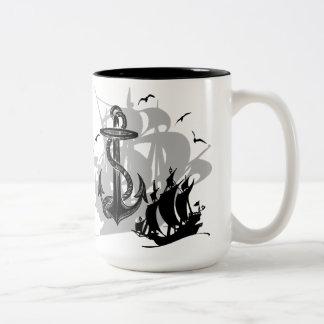 Pirate Ship & Anchor Black Silhouette Mug