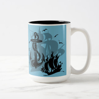 Pirate Ship & Anchor Black Silhouette Mug 2