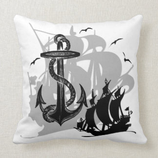 Pirate Ship & Anchor Black Silhouette Throw Pillow