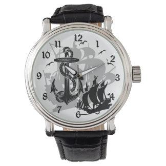 Pirate Ship & Anchor Black Silhouette Watch