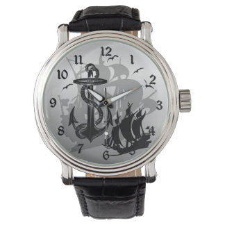 Pirate Ship & Anchor Black Silhouette Watch 2