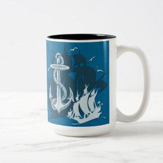 Pirate Ship & Anchor White Silhouette Mug