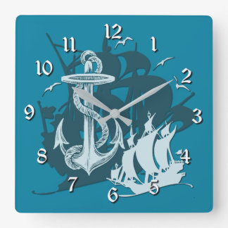 Pirate Ship & Anchor White Silhouette Wall Clock 2