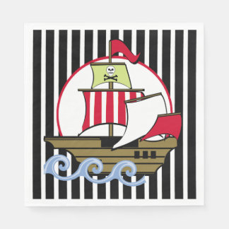 Pirate Ship and Black Stripes Disposable Napkins