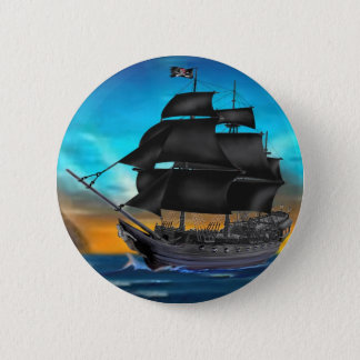 PIRATE SHIP AT SUNSET 6 CM ROUND BADGE