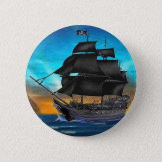 PIRATE SHIP AT SUNSET 6 CM ROUND BADGE